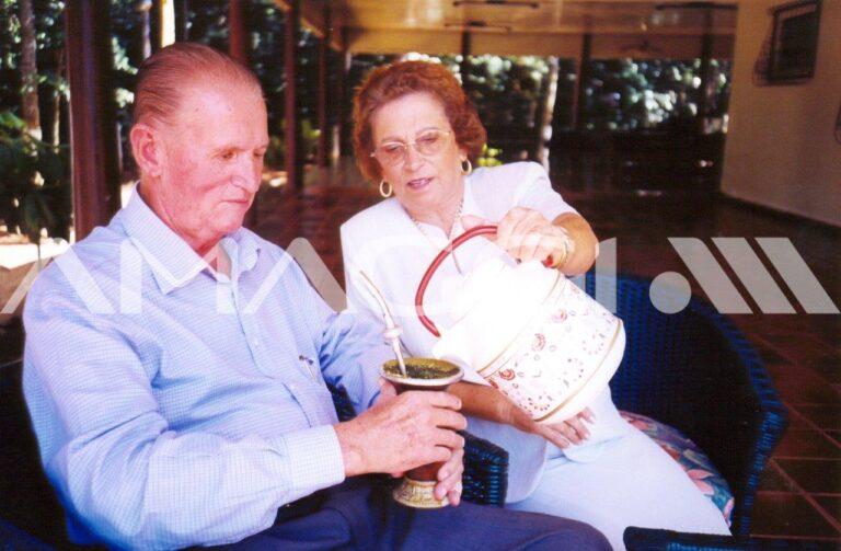 André e Lucia Maggi, já em Mato Grosso, em 2001, mesmo ano do falecimento do fundador.